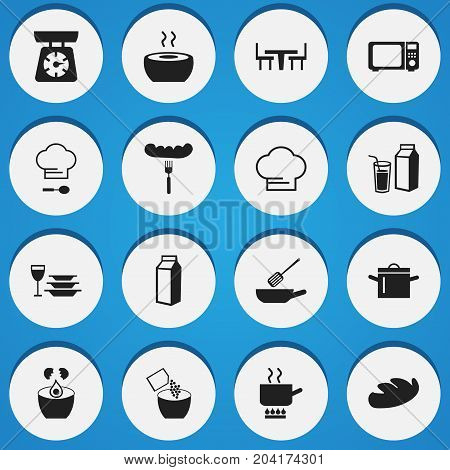 Set Of 16 Editable Kitchen Icons. Includes Symbols Such As Milk Bottle, Saltshaker, Chef Cap And More