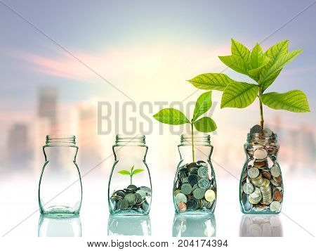 Mix coins and seed in clear bottle on cityscape photo blurred cityscape backgroundBusiness investment growth concept, 3D illustration