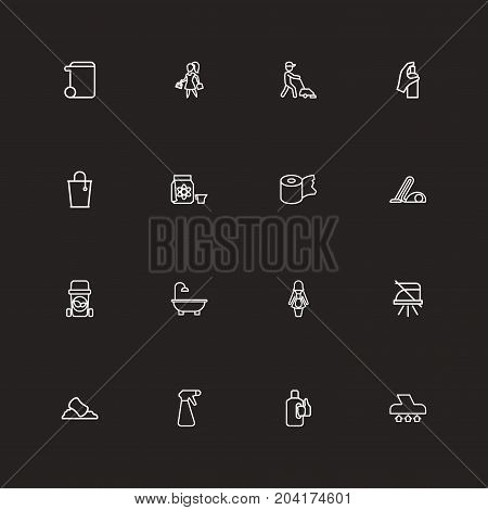 Set Of 16 Editable Cleanup Outline Icons. Includes Symbols Such As Brooming, Sponge, Hygienic Roll And More