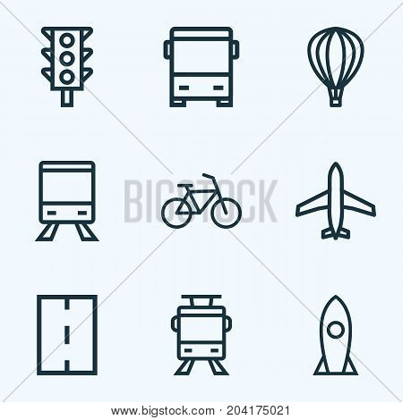 Transportation Outline Icons Set. Collection Of Rocket, Bike, Aircraft And Other Elements