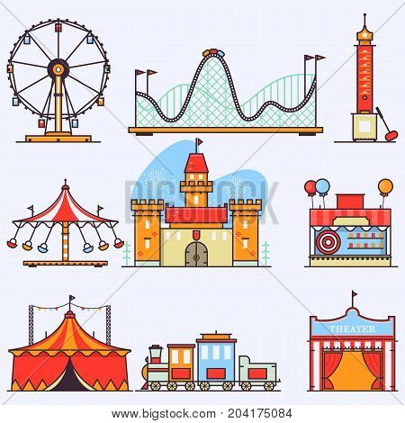 Amusement ride or luna park roller coasters entertainment vector set.Linear style illustrations isolated on white.