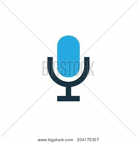 Premium Quality Isolated Mike Element In Trendy Style.  Microphone Colorful Icon Symbol.