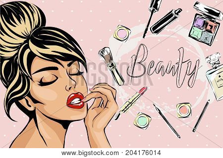 Beautiful Pin-up Style Sexy Woman With Close Eyes Dreaming About Beauty Products For Makeup. Beauty
