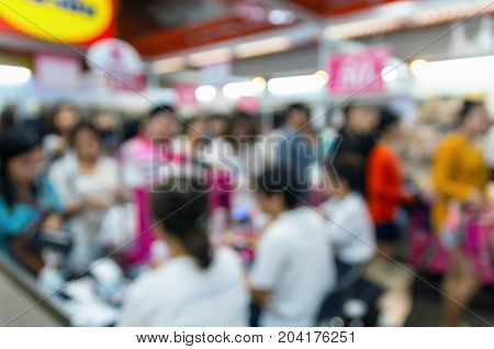 Abstract blurred photo of cashier store blur with bokeh background