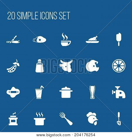 Set Of 20 Editable Cook Icons. Includes Symbols Such As Mocha Grinder, Cow, Spatula And More