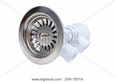 sanitary siphon. on white background . Close-up