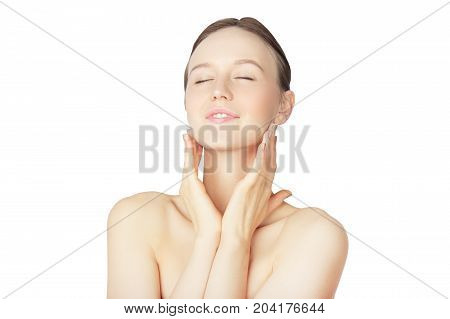 Wellness Girl with Fresh Skin and Closed Eyes on White