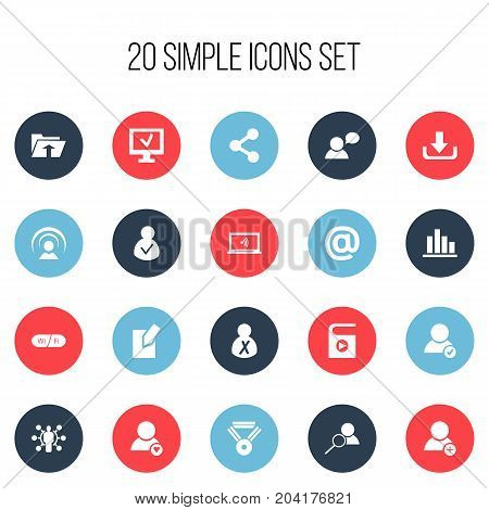 Set Of 20 Editable Network Icons. Includes Symbols Such As Publish, Approve User, Access Allowed And More