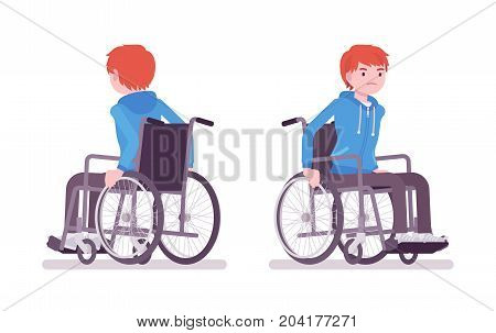 Disabled young man in wheelchair riding. Special quality of life and health problems. Disability and social policy. Vector flat style cartoon illustration, isolated, white background. Front, rear view