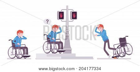Disabled young man in wheelchair in negative emotions. Learning life skills in uncomfortable city zone. Disability and social policy. Vector flat style cartoon illustration, isolated, white background
