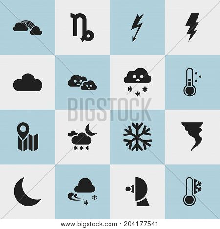 Set Of 16 Editable Climate Icons. Includes Symbols Such As Goat, Weather After Rain, Pin And More