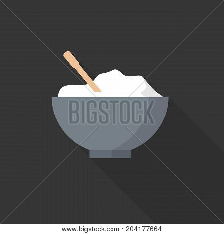 Bowl of rice in flat style isolated on background. Vector stock.