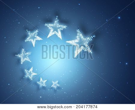 Blue Stars Abstract Background for your Design, Light and Shining. Vector