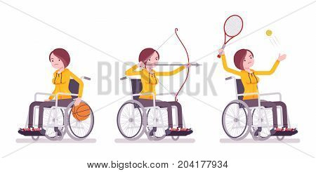 Disabled young woman in wheelchair doing sport activity. From rehabilitation to competitive sport. Physical disability and society. Vector flat style cartoon illustration, isolated, white background