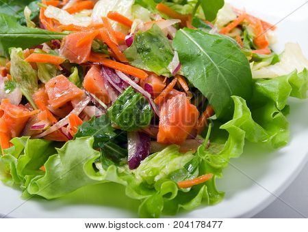 Salad With Salmon And Vegetable