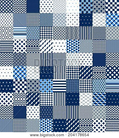 Blue and white patchwork quilted geometric seamless pattern, vector set background