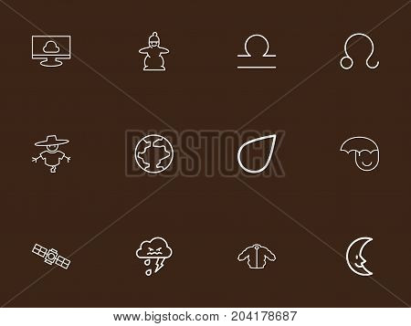 Set Of 12 Editable Climate Outline Icons. Includes Symbols Such As Bugbear, Happy Man, Goat And More