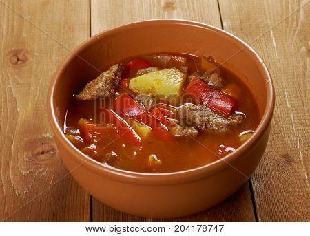 Traditional Bulgarian soup chorba.shurpa soup close up meal