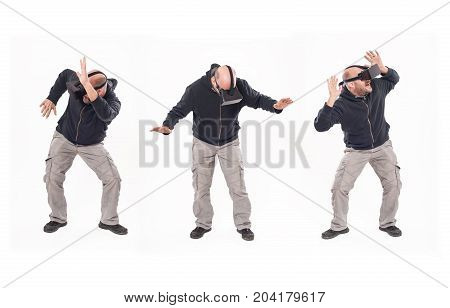 Montage With Young Man Having Fun With Virtual Reality Glasses