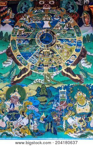 Punakha, Bhutan - September 10, 2016: Tibetan Buddhist Wheel Of Life Mandala Painted On Wall In The