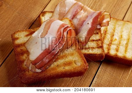 Pile  Toasted Bread Bacon