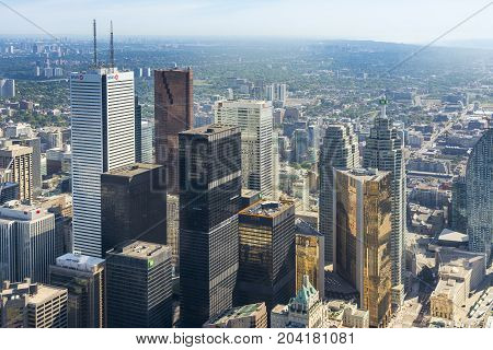TORONTO,CANADA-AUGUST 2,2015:view of Toronto city skyline from the top of the Cn tower during a sunny day.