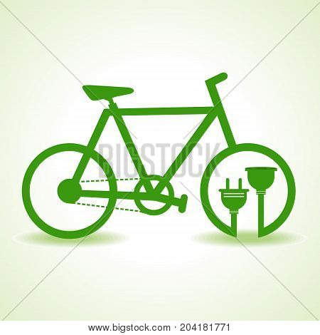 Eco bicycle with plug and holder stock vector