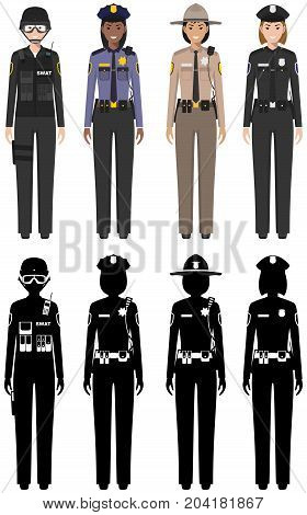 Detailed illustration and silhouettes of sheriff, SWAT officer, policeman and policewoman in flat style on white background.