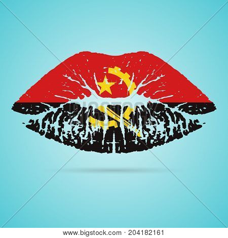 Angola Flag Lipstick On The Lips Isolated On A White Background. Vector Illustration. Kiss Mark In Official Colors And Proportions. Independence Day