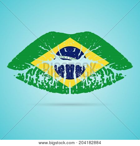 Brazil Flag Lipstick On The Lips Isolated On A White Background. Vector Illustration. Kiss Mark In Official Colors And Proportions. Independence Day