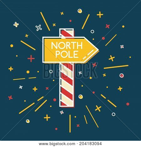 Colored North Pole waypost sign isolated on blue background. Christmas icon in thin line style.