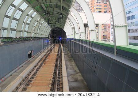 The Train Rail In City
