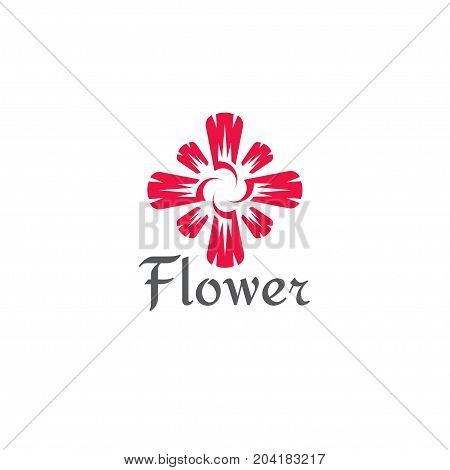 Flower abstract Logo design vector template. Flower logo on a white background.