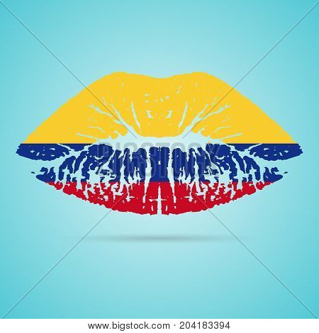 Colombia Flag Lipstick On The Lips Isolated On A White Background. Vector Illustration. Kiss Mark In Official Colors And Proportions. Independence Day