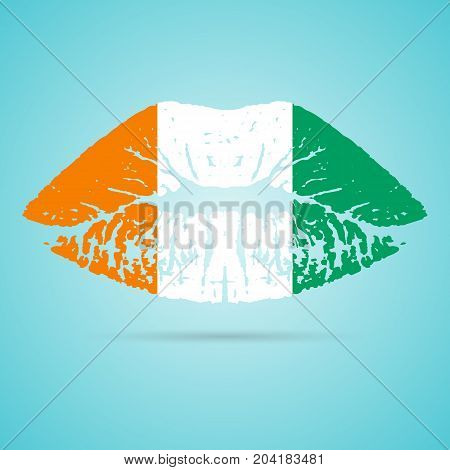 Cote D Ivoire Flag Lipstick On The Lips Isolated On A White Background. Vector Illustration. Kiss Mark In Official Colors And Proportions. Independence Day