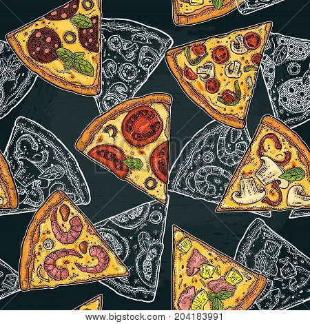 Seamless pattern slice pizza Pepperoni Hawaiian Margherita Mexican Seafood Capricciosa. Vintage vector color and white engraving illustration for poster menu box. Isolated on dark background