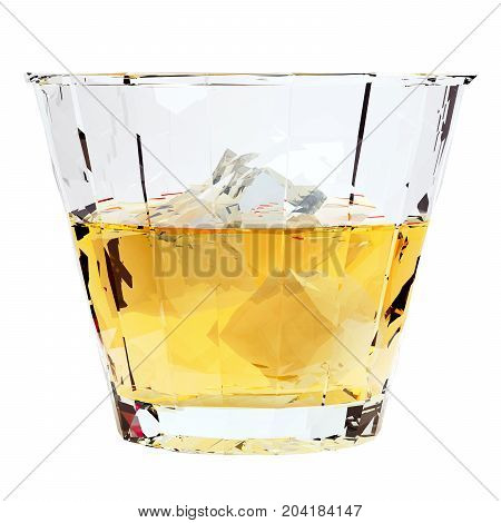 Low poly glass of whiskey with ice isolated on white background. 3d render