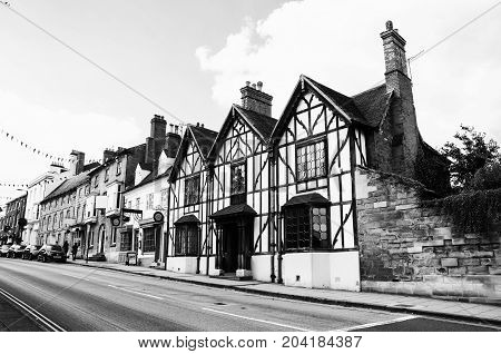 Stratford upon Avon UK. Old historical buildings of the Stratford upon Avon UK - a popular tourist destination and a birthplace of the playwright and poet William Shakespeare. Black and white