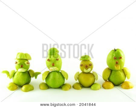 nature composition on white: peoples from fruits of quinces poster