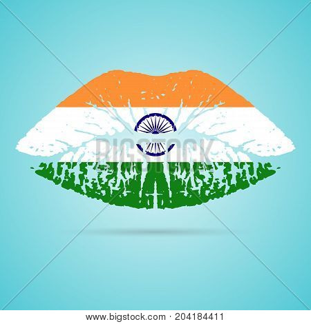 India Flag Lipstick On The Lips Isolated On A White Background. Vector Illustration. Kiss Mark In Official Colors And Proportions. Independence Day