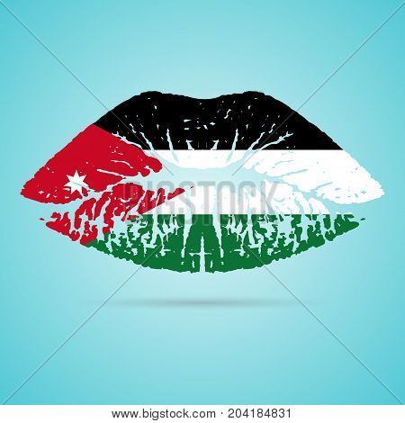 Jordan Flag Lipstick On The Lips Isolated On A White Background. Vector Illustration. Kiss Mark In Official Colors And Proportions. Independence Day