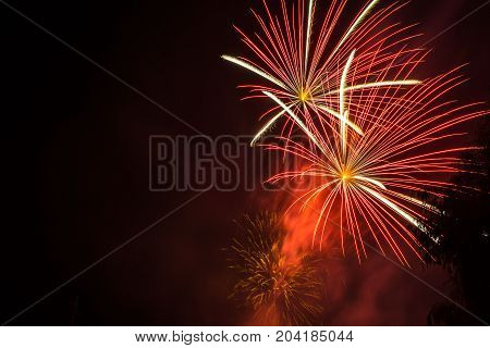 Orange firework. Amazing fireworks, fireworks 2017, fireworks background, fireworks event,