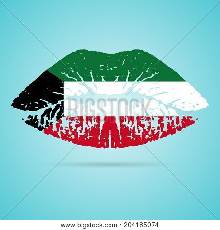 Kuwait Flag Lipstick On The Lips Isolated On A White Background. Vector Illustration. Kiss Mark In Official Colors And Proportions. Independence Day