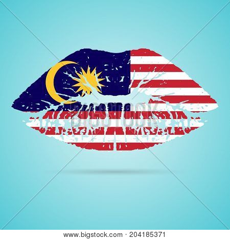 Malaysia Flag Lipstick On The Lips Isolated On A White Background. Vector Illustration. Kiss Mark In Official Colors And Proportions. Independence Day