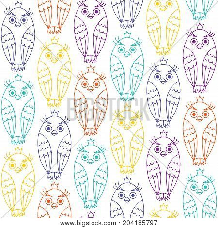 Seamless pattern with owls. Owls drawn by hand. The colored contours on a white background.