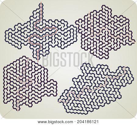 Fun set of hexagonal maze with answer
