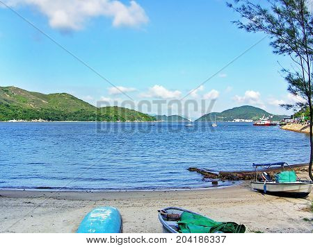 Silver Mine Bay Beach in Mui Wo on the island of Lantau (Hong Kong)