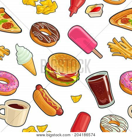 Seamless pattern fast food. Cup cola coffee donut ice cream chips popsicle pizza hamburger hotdog fry potato ketchup. Vector flat color illustration isolated on white background