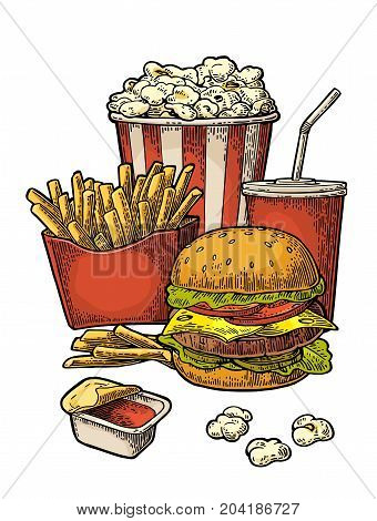 Poster with fast food. Cup cola hamburger hotdog fry potato in red paper box carton bucket popcorn ketchup. Isolated on white background. Vector vintage engraving illustration for menu