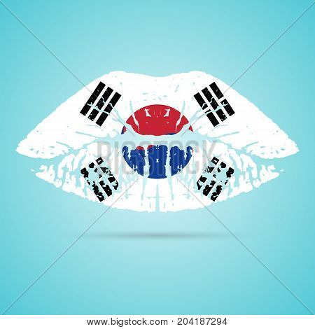 South Korea Flag Lipstick On The Lips Isolated On A White Background. Vector Illustration. Kiss Mark In Official Colors And Proportions. Independence Day